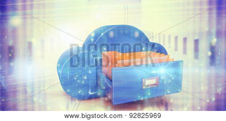 Digitally generated black and blue matrix against composite image of cloud computing drawer