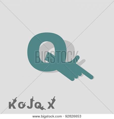 Letter Q. Logo letters with a hand. Finger pointing. Letter of alphabet. Business template. Vector i