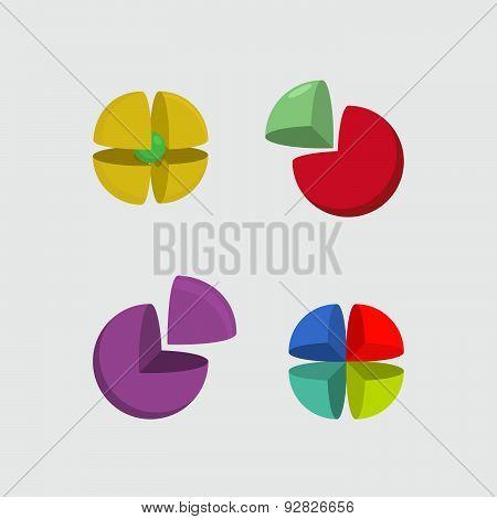 Set  logo sphere. 3d abstract ball logo. Scope of  segments. Vector illustrator