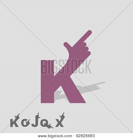Letter K. Logo letters with a hand. Finger pointing. Letter of alphabet. Business template. Vector i