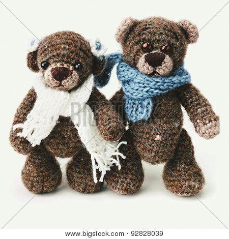 Teddy bears family in classic vintage style on white background