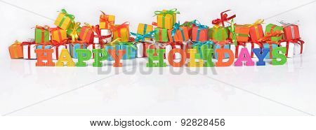 Happy Holidays Colorful Text On The Background Of Gifts