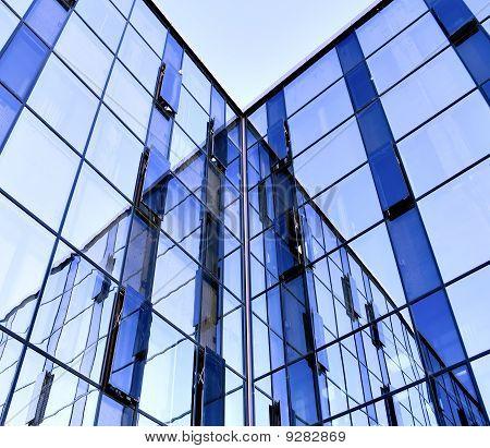 modern glass skyscraper perspective view