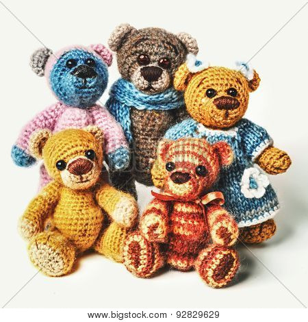 Teddy bears family in classic vintage style isolated on white background