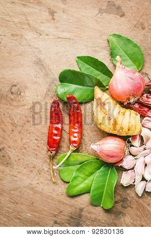 Ingredients of Thai spicy food, tom yum.
