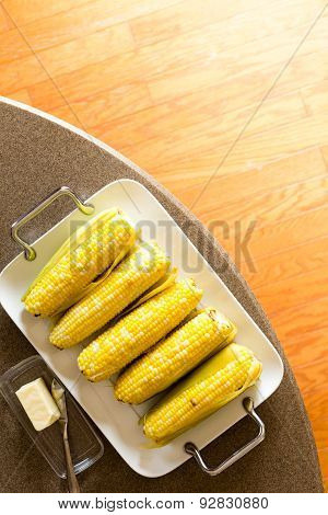 Delicious Tray Of Cooked Corncobs