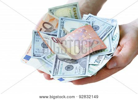 businessman hands holding dollar and euro money cash - business, people, finances and money concept