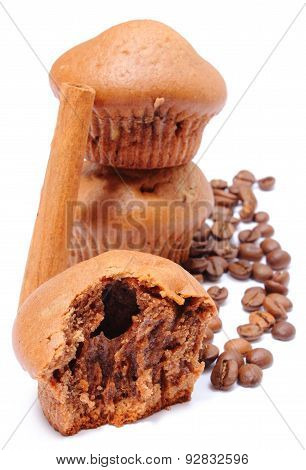 Fresh Baked Muffins, Coffee Grains And Cinnamon