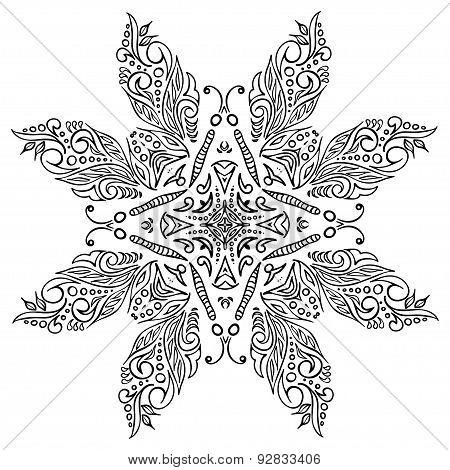 Hand-drawn Colored Mandala Zentangl. Decorative Butterflies