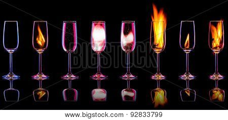 Fire cocktail collection isolated on a black background