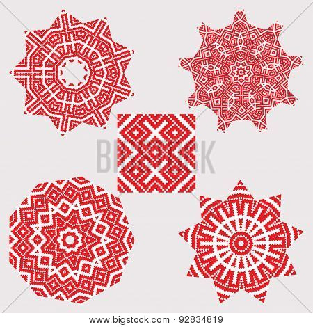 Set Ethnic Ornament Mandala Patterns In Red Color
