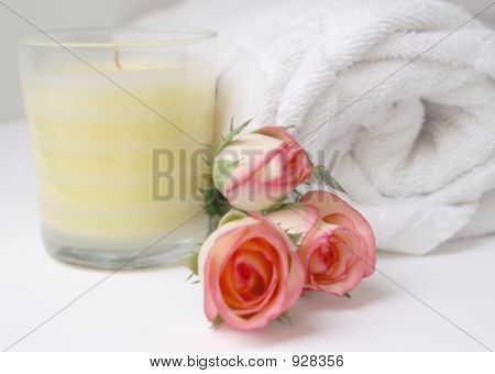 Candel And Rose Blossom