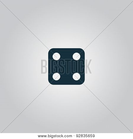 Vector illustration of one dices - side with 4.