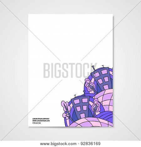 Graphic Design Letterhead With Doodle Abstract House.