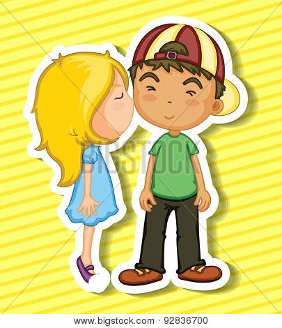 Sticker of a girl kissing a boy on his cheek