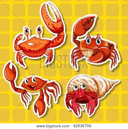 Stickers of four different crabs on yellow background