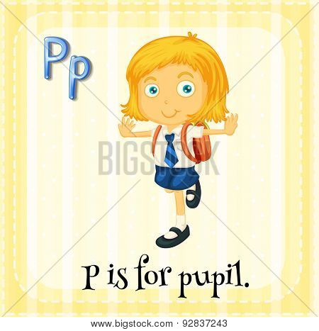 Flashcard of a letter P with a pupil