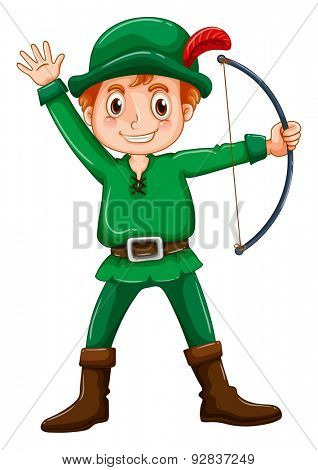 Boy in a robin hood costume on white background