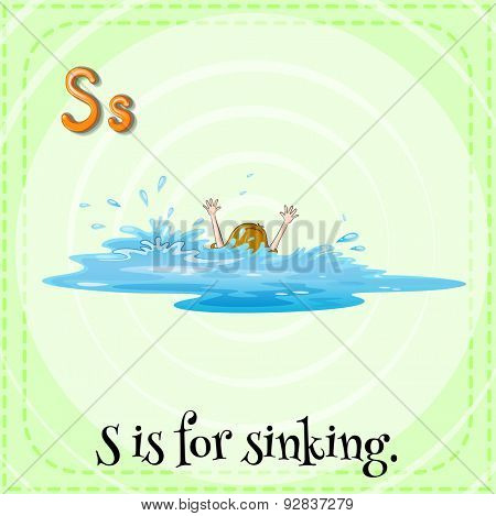 Flashcard of a letter S with a picture of a girl sinking