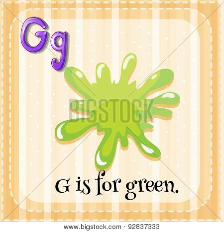 Flashcard of letter G with color green