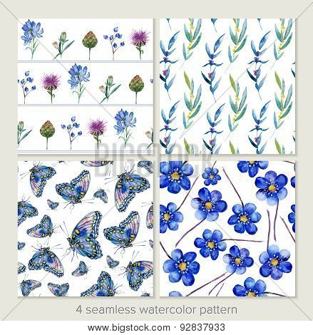 Set Of Vector Seamless Patterns. Watercolor Iris, Leaves, Butterfly.