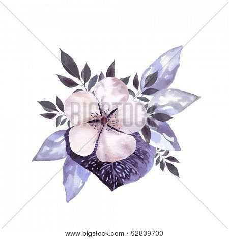 Ashy-gray flower blossom with decorative leaves. Watercolor image vector.