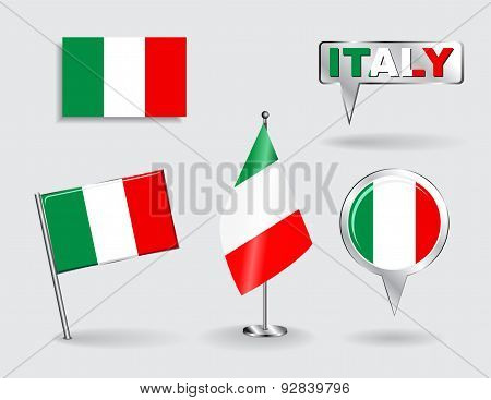 Set of Italian pin, icon and map pointer flags. Vector