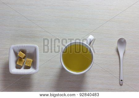 Time For Tea Break.white Porcelain Tea
