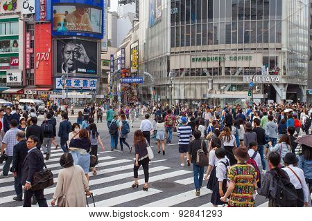 Pedestrians at Shibuya crossing