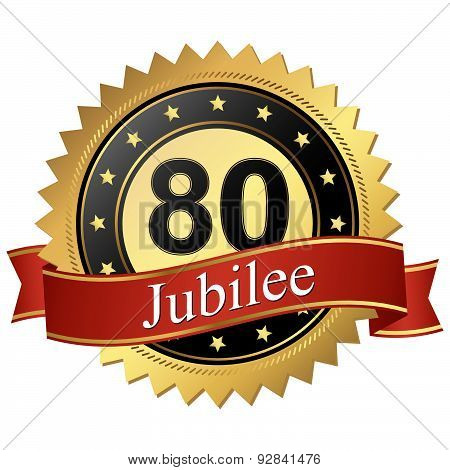 Jubilee Button With Banners - 80 Years