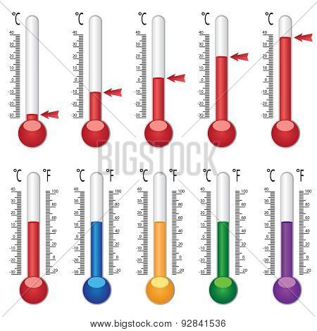 Set Of Coloured Thermometers.