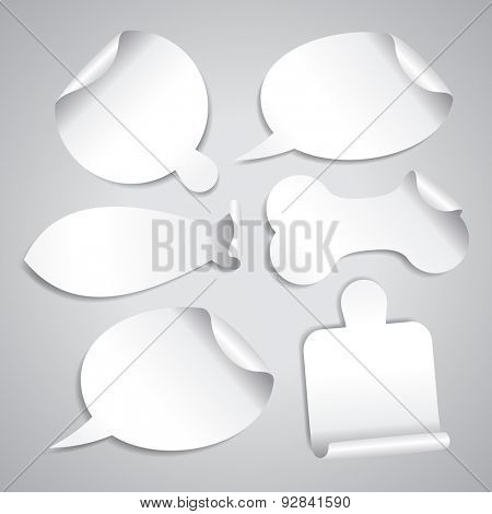 Empty white stickers set with board for pizza, cutting board, bone for pet, fish silhouette and speech bubbles