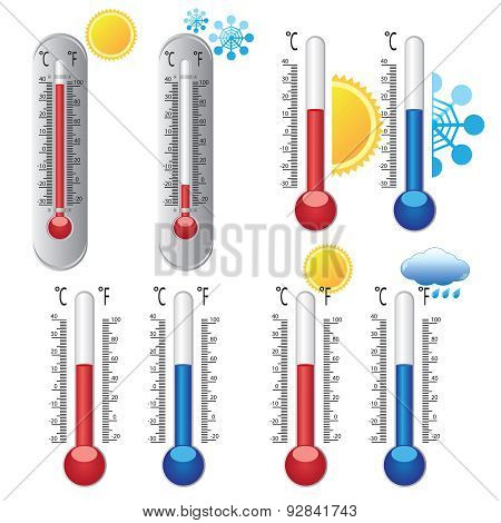 Thermometers With Weather Icons.