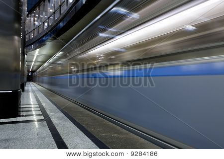 high speed train moving on the platform