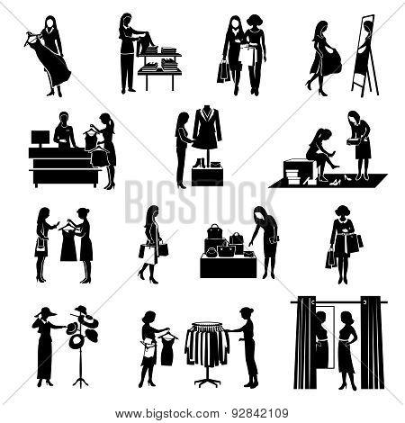 Women Shopping Black Icons Set