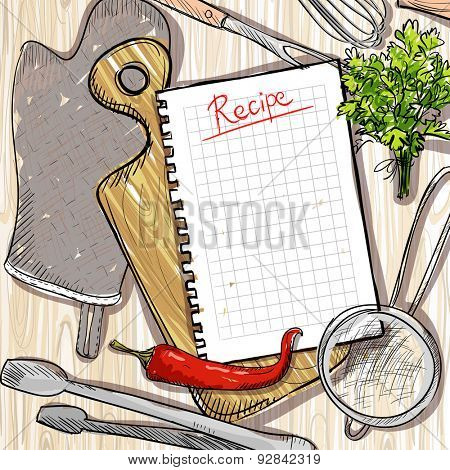 Cutting board and kitchen utensil with empty recipe list on a wooden table backdrop, eps10.