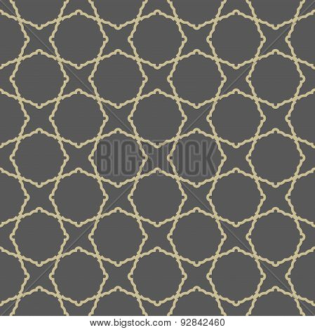 Geometric Seamless Pattern With Golden Grill