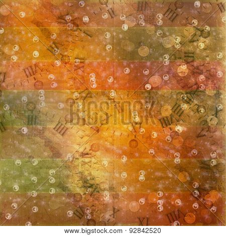 Abstract Ancient Background In Scrapbooking Style With Gold Ornamentat