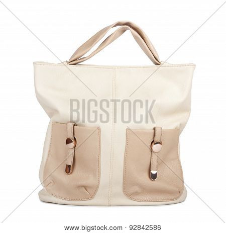 Nice Ladies Beige Handbag Isolated