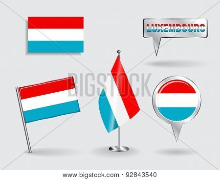 Set of Luxembourg pin, icon and map pointer flags. Vector