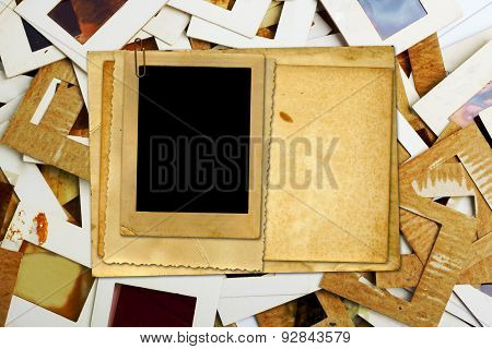 Set Of Old Slides, Photos And Film On The Table