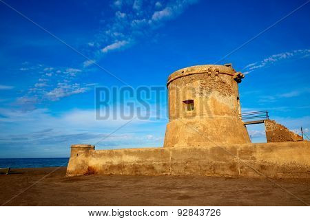 Almeria Cabo de Gata tower Torreon in San Miguel Beach at Spain