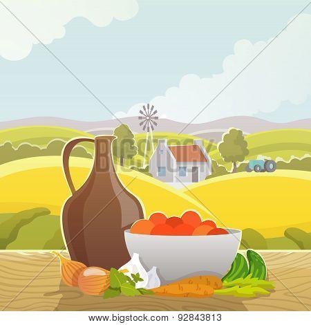 Rural landscape abstract illustration poster
