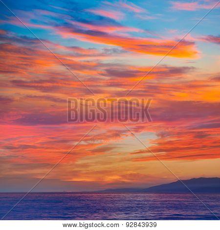 Almeria Cabo de Gata sunset in Mediterranean sea of Spain