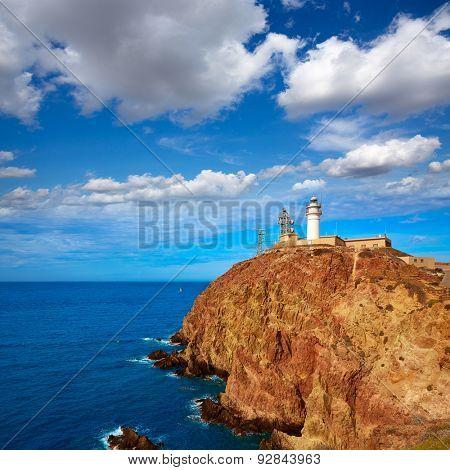 Almeria Cabo de Gata lighthouse in Mediterranean sea of Spain