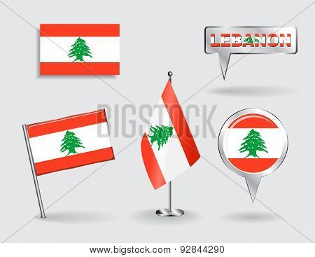 Set of Lebanese pin, icon and map pointer flags. Vector