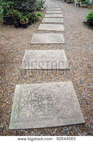 Carving Stone Walkway Winding In Garden