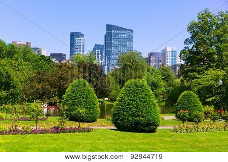 Boston Common park gardens and skyline in Massachusetts USA