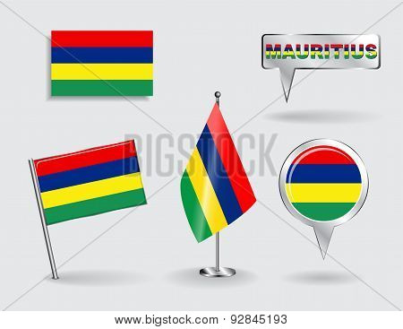 Set of Mauritius pin, icon and map pointer flags. Vector