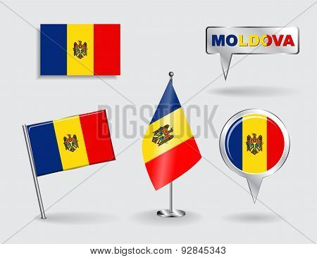 Set of Moldovan pin, icon and map pointer flags. Vector